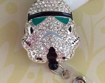 Rhinestone Stormtrooper Retractable ID Badge Reel, Nurse Badge Reel