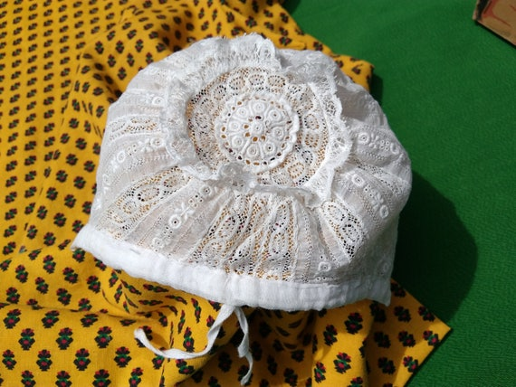 Victorian White Embroidered Lacy Cotton Baby Hat Bonnet Small Newborn or Doll Bonnet Collectible #sophieladydeparis