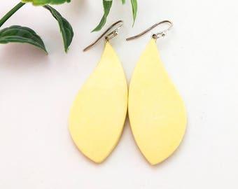 Handmade earrings, Yellow leaf earrings, Geometric clay earrings, Minimalist jewelry, Sterling silver, Air dry clay not polymer clay