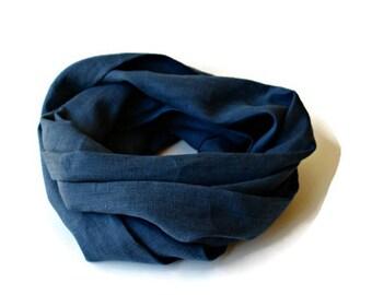 infinity scarf 100% linen - navy