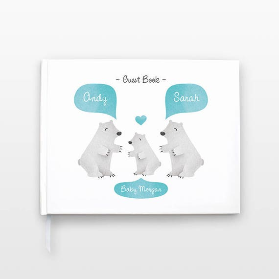 POLAR BEAR Baby Shower Guest Book, Personalized Baby Book, Animal Baby Guestbook, New Baby Gift, Baby Journal, Baby Notebook