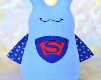 Handmade Super Slug Stuffed Animal, Baby Blue, Royal, Red Fleece, Plush Kids Baby Toddler Art Toy, Hug Me Slug, Personalized Tag, 9 inch