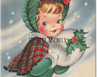 Vintage Christmas Girl with Muff Holly Dress Digital Image Download Printable