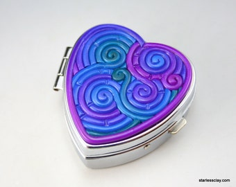 Heart Pill Box in Jewel Tone Teal, Blue, Purple Fimo Filigree Valentine's Day Gift
