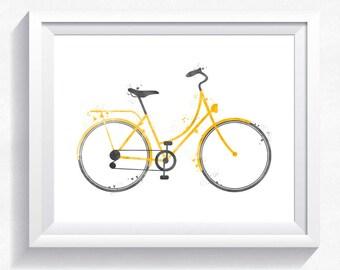 Bicycle printable watercolor bike printable, bicycle print bike print, instant download, bike wall art, bicycle wall art, bike wall decor