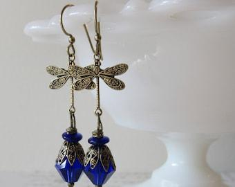 Art Deco Dragonfly Dangles in Cobalt Blue // Czech Glass & Brass  Earrings