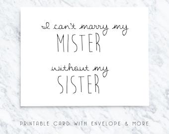 bridesmaid card, printable bridesmaid card, digital bridesmaid card, bridal party note, digital download, will you be my card