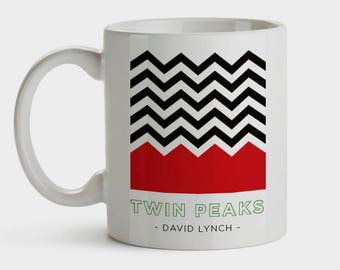Taza con ilustración exclusiva Twin Peaks - David Lynch Mug Damn Fine Coffee Hipster Laura Palmer TV serie cult gift