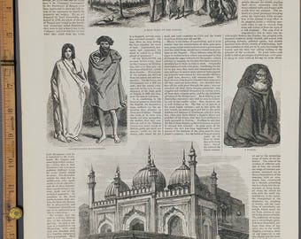 Ryot Home on the Ganges 1857. A Faquir. Principal Street in Dehli. Large Antique Engraving.