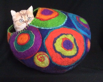 XXL Custom Kandinsky CatCave Pet Bed In Purple, Lime, Cobalt and Orange