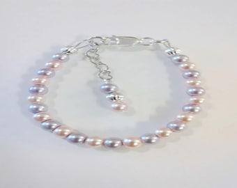 Childrens/Newborn/Toddler sterling silver filled pearl bracelet
