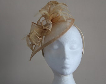 Champagne Gold Fascinator Sinamay and Feather Fascinator on a hairband, races, weddings, Kentucky Derby, Ascot, Mother of Bride