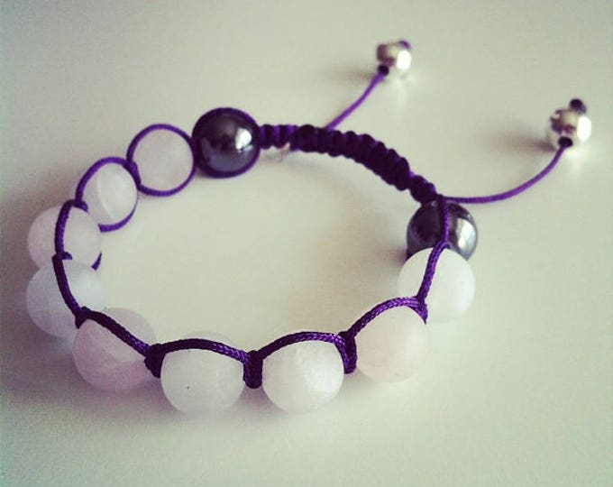 Adjustable Shamballa bracelet matte rose quartz