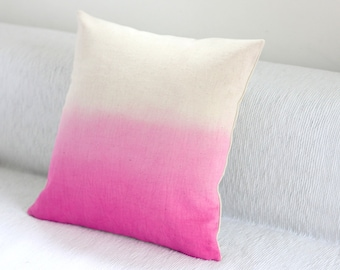Pink Dip Dye Cushion Cover / Ombre Pillow Cover - Hand Dyed