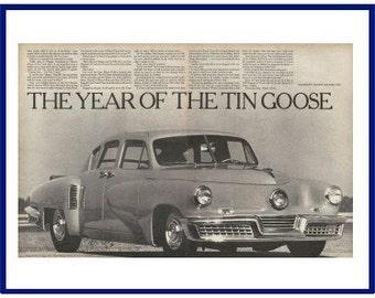 "SEAGRAM'S 7 CROWN WHISKEY Original 1967 Vintage Extra Large Black & White Print Ad  - 1947 Tucker Automobile ""The Year Of The Tin Goose"""