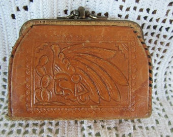 Vintage Brown Leather Hand Tooled Change Purse Two Separate Cash Compartments Indian & Cactus Design Unique