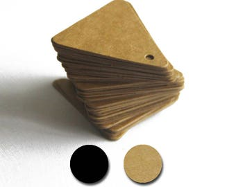 Set of 100, Black, Kraft Gift Tags, 45MM x 45MM x 43MM, Black Triangle Tags, Kraft Triangle Tags