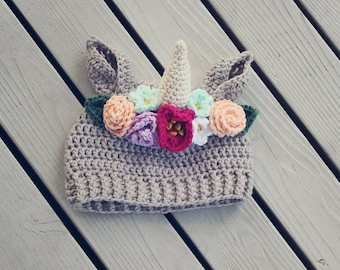 Unicorn hat with flower crown