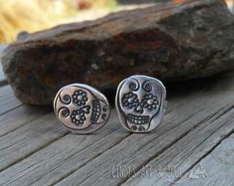 Skull Post Earrings Silver Nugget Posts 999 Fine Silver