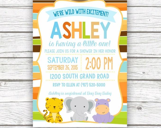 Safari Baby Shower Invitation, Jungle Animal Baby Shower, Custom Baby Boy Girl Shower, Baby Animal Invite, Printed or Printable Invitation