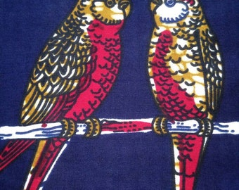 Fabric wax (by the yard) - couples parakeets on a dark blue background