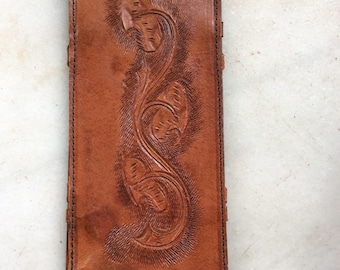 Hand Tooled Vintage Leather Wallet Bill Holder Checkbook Covers