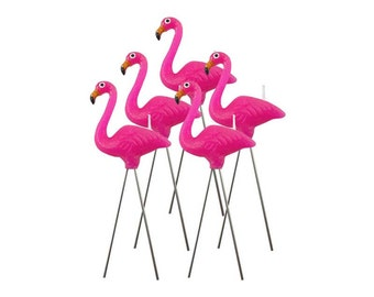 Flamingo candles. Set of 5.  Pink flamingo birthday candle. Flamingo cake topper. Flamingo cake decorations. Tropical bird cupcake toppers