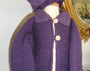 Coat and hat purple girl 3-6 months