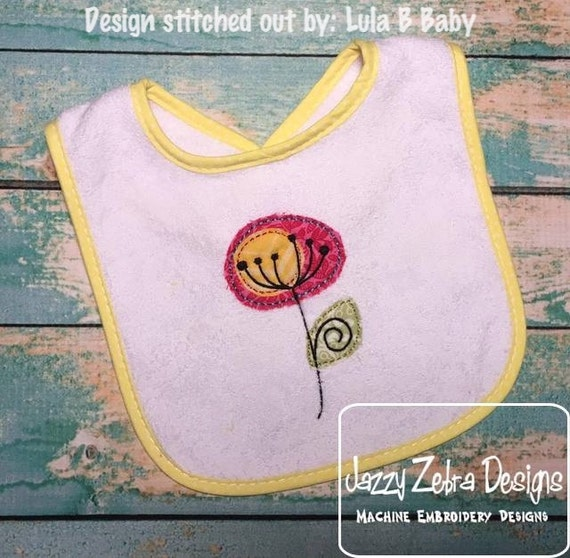 Raggedy Edge Appliqué Wild Flower Embroidery Design - flower appliqué design - spring appliqué design - summer appliqué design - wild flower