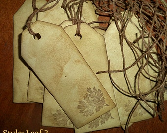 Antiqued Tea-Stained Tags. Set of 9.  Gift Tags, Jar Tags. Leaf Stamped #2. Primitive Tags.