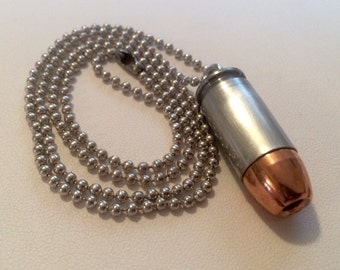 45ACP Bullet Necklace - Keychain Pendant - Bullet Zipper Puller - ALL IN ONE! Very Handy! Handmade, One Of A Kind