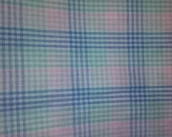 Blue, Pink, Green and Yellow Checked Cotton Fabric