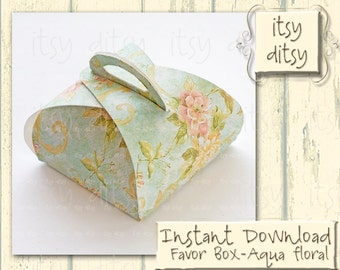 Wedding favour box -Aqua wedding printable gift box with antique floral pattern in duck egg blue- digital Box -floral favour box