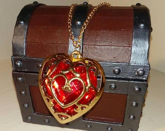 Zelda Heart Necklace - Legend of Zelda - Heart Container - Gift - Red and Gold