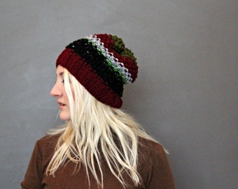 Hand Knitted Beanie . Striped Knit Beanie . Sloucy Beanie . Winter Hats . Wool Winter Hat . Womens Tam Hat . Black Knitted Beanie
