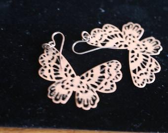 Filigree Brass Butterfly Earrings/ Dangle/ Pierced