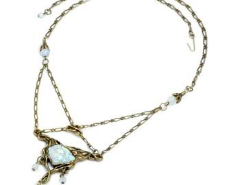 Art Nouveau Necklace, Vintage Style Jewelry, Art Glass Maiden, Art Nouveau Jewelry, Iridescent Glass, Futura Lavaliere, Belle Epoque N114