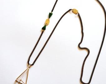 Long Brass Green Necklace / Long Brass Geometric Necklace Statement Necklace / Long Brass Necklace with Green Jasper Gemstones
