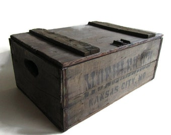 Muehlebach Brewing Company Beer Crate; Antique Beer Crate, Antique Wooden Beer Crate, Breweriana Beer Crate, Missouri Beer Crate