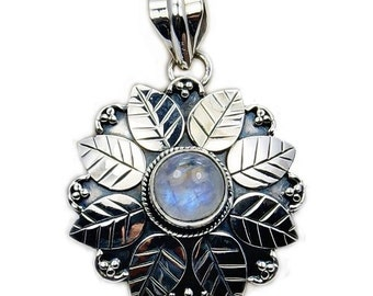 Rainbow Moonstone Pendant - Moonstone Necklace Sterling Silver Pendant AA388 The Silver Plaza