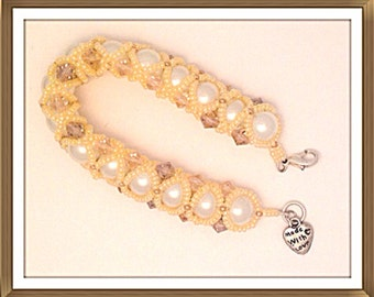 Bracelet Handmade MWL beautiful right angle weave pearl bracelet. 0172
