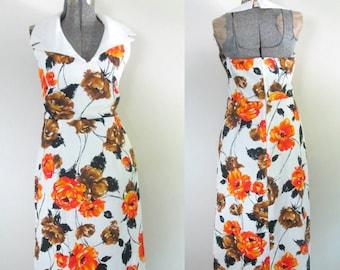 1970s Cotton Halter Maxi Dress Nautical Sailor Collar // Vintage Mod Boho Chic