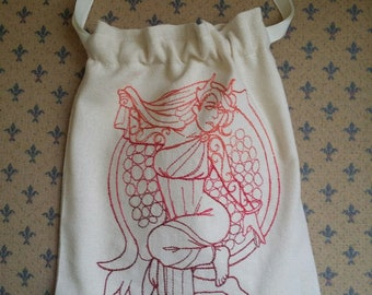 Bag embroidered with Persephone