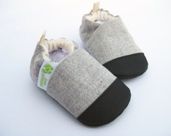 Organic Vegan Recycled Hemp Cotton / Non-Slip Soft Soles Baby Shoes / Made to Order / Babies Toddlers