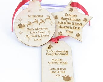 Personalised Engraved Wooden Christmas Gift Tag Present Tag Label with Ribbon