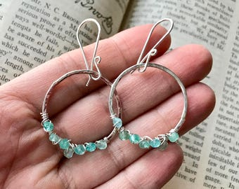 Large Hammered Sterling Silver Hoop Earrings with Wire Wrapped Faceted Blue Quartz Gemstones