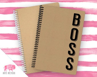 Spiral Notebook | Spiral Journal Planner | Journal | 100% Recycled | Boss | BB058