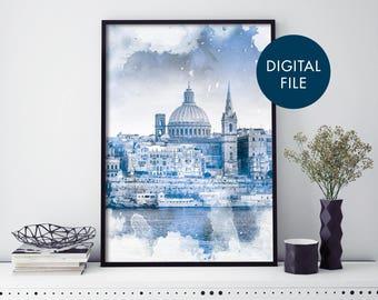 Valletta, Malta Watercolour Print Wall Art | Print At Home | Digital Download File
