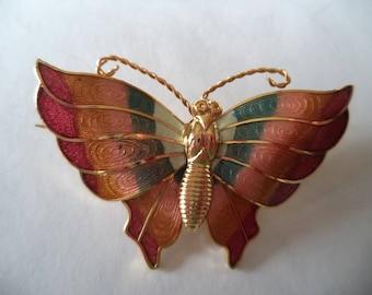 Fabulous Vintage Unsigned Lightweight Multi Butterfly Brooch/Pin