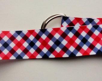 RED WHITE BLUE Checks Plaid Ribbon Belt /Preppy / Grosgrain /D Ring/ 1.5 in/ X S / S / M/L /Womens/ Boys /Girls/Mens/Kids